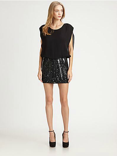 Parker Sequined Blouson Dress