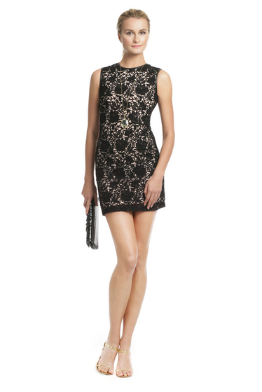 Cynthia Rowley Lace Leather Chemise Dress