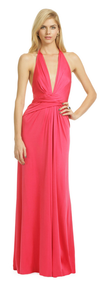 ISSA Plunging Pink Wrap Gown