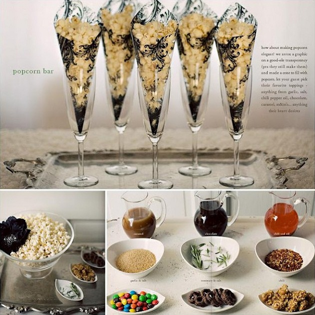 oscar party popcorn bar