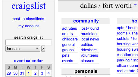 craigslist dating dallas tx Press to search craigslist save search options close farm & garden all owner dealer tx (cst) corpus christi, tx (crp) dallas / fort worth (dal) deep east.